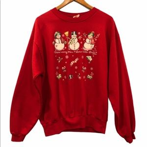 Vintage Ugly Christmas Sweater Snowmen Red Large